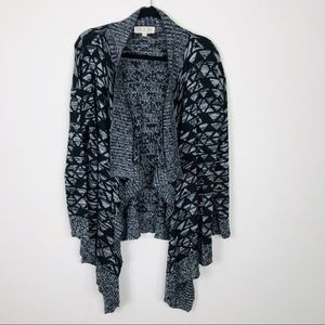 PINK ROSE Black & Grey Open Cardigan Size XL